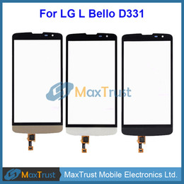 "lg white screen NZ - Top Quality 5.0"" For LG L Bello D331 D335 D337 Touch Screen Digitizer Front Glass Panel Sensor Black White Gold Color"