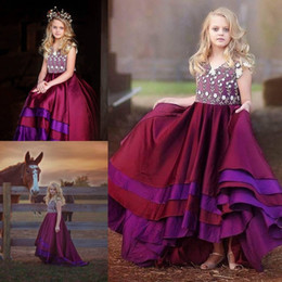 Robe À Col À Manches Longues Pas Cher-Stunning Arabic 2017 Ruffle Lace Flower Girl Robes Ball Gowns Child Club Dresses Long Train Belle Little Kids FlowerGirl Dress