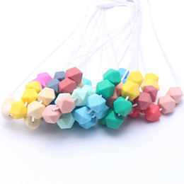 free teething necklace NZ - Newest 100% BPA Free Food Grade DIY Silicone Baby Chew Beads Teething Necklace Nursing Jewelry Placate Teether for Mom Mommy to Wear
