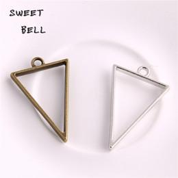 Bezel Setting Diy Canada - Min order 20pcs 25*39mm Alloy jewelry setting accessories triangle charms Hollow glue blank pendant tray bezel charms DIY Handmade D6094-1