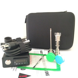 Électrique Pour Ongle Pas Cher-Portable dab rig kits électriques à ongles E D dabber clous quartz titane clous domeless 16mm 20mm bobine radiateur siclion tapis verre eau bong
