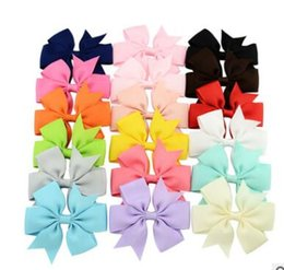 stereo cans UK - Contrast color stereo twisted bow Children's hair clips Manual bow clip cute baby hair clips 20 colors can choose