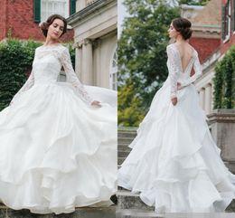 Chaple Dress Garden Ruffles Wedding Gown Long Sleeve Elegant Backless Sexy Tiered Skirt Cheap Price High Quality Bateau Neck Floor Length