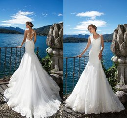 Discount cheap t back wedding dresses - 2017 Milla Nova Robe De Marriage Mermaid Wedding Dresses Lace Appliques Jewel Neck Sexy Illusion Back Bridal Gowns Custo