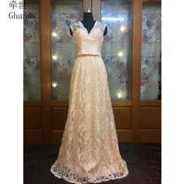 a4b5e45db69 Ghands Cheap JJShouse Lace V-Neck A-Line Elegant Tow Piece Suit Wedding  Guest Formal Gowns Plus Evening Party Dresses Custom Size Color