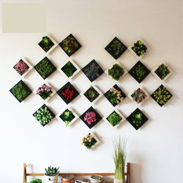 plants hangers Canada - New 3D Creative Real Touch Plastic Plants Home Decoration Wall Hanger Plastic Frame Artificial Flower Living Room Store Ornament Accessories