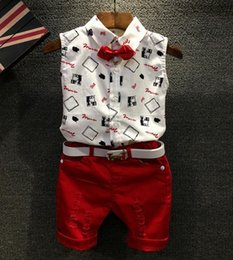 Floral Print Shirts Baby Australia - 2017 Children Set Kids Suit Outfits baby boys Summer sleeveless cotton Floral print tops T shirt+Kids red shorts Children clothing kids sets