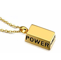 202de5510f1 Men 14k Yellow Gold Necklace NZ - Gold 14K Sports Fitness Power Weightlifting  Pendant Necklaces Men