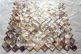 brick tiles kitchen Canada - natural color Chinese freshwater shell mother of pearl mosaic tile for interior house decoration kitchen and bathroom wall tiles brick style