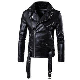 Punk Motorcycle Jacket Australia - 2018 Spring Men Motorcycle leather jackets Male Casual Lapel Coats Brand New clothing European Size Slim Fit Punk Jacket D101