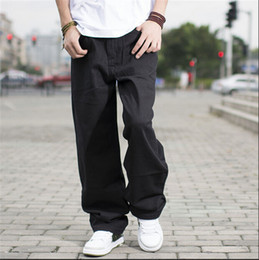 zipper pants for boys NZ - Wholesale-Black hip hop jeans baggy style loose pants for boy rap jeans mens fat big trousers hiphop long trousers large