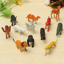 $enCountryForm.capitalKeyWord Canada - 12PCS set Plastic Zoo Animal Figure Tiger Leopard Hippo Giraffe Kids Toy Lovely Animal Toys Set Gift For Kids