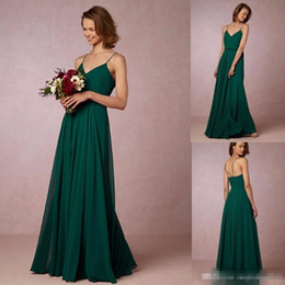 Robe À Courroie Spaghetti Pas Cher-Cheap 2017 Dark Green Flow Chiffon Robes de demoiselle d'honneur Spaghetti Straps Bohemian Maid Of Honor Robes Pour Pays