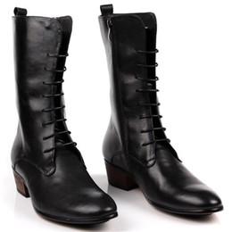 Pelle Genuin 2017 nuovi uomini Black Lace up Boots Inghilterra punta stivali  di moda coreana maschile Zipper Boots Kanye West calza il formato 45 a606fa6c279