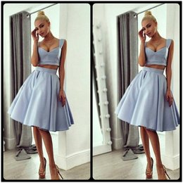 Satin Knee Party Dresses Prom Canada - 2017 Two Pieces Matter Satin Short Prom Dress Party Gown Simple Sweetheart Neck Knee Length Cheap Homecoming Dresses