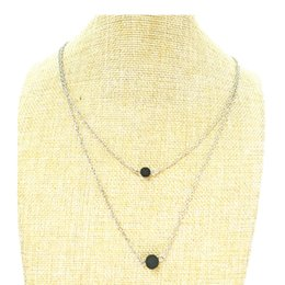 Double Layered Gold Necklace Canada - Double Layer Black Lava rock Necklace Layered Chain Lava Bead Essential Oil Diffuser Aromatherapy necklace