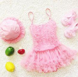 Baby Girl Swimsuit One Piece Months Canada - Baby Lace Girl Swimsuit Summer Beach One Piece Swimwear Kids Bathing Suit Pink Purple Princess Dress Swim Suits