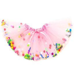 Ingrosso Gonna Tutu Princess Pink Pink Happy Birthday Girls con pompon