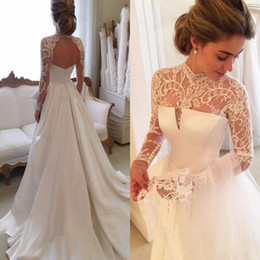 Chinese  Gorgeous Long Sleeve Wedding Dresses With Sheer Neck Jewel Sexy Open Back Bridal Gowns Satin Vintage Wedding Dress Lace Top Cheap manufacturers