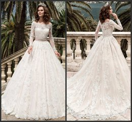 $enCountryForm.capitalKeyWord Canada - Applique Elegant Custom Formal Wedding Gown Long SLeeve Covered Bottons Sweep Train A Line Style Beautiful Charming Hot Sale Bridal Gown