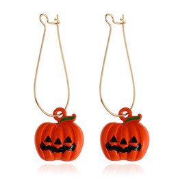 wholesale charms UK - Wholesale jewelry, the new personality candy color pumpkin creative earrings, Halloween jewelry, free shipping