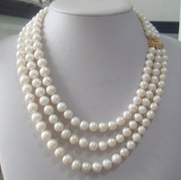 "triple chains Canada - triple strands 9-10mm Real Australian south sea white pearl necklace 18-22"" 14K"