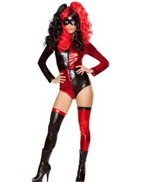 Costumes De Halloween Couleur Rouge Pas Cher-Red White Color Sexy Women Halloween Party Clown Cosplay Bodysuit Circus Joker Masquerade Stage Performance Costume
