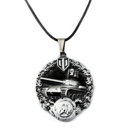 $enCountryForm.capitalKeyWord NZ - World of Tanks Game WOT Pendant Necklaces Alloy Pendant Leather Chain Fashion Necklace For Friend Gift