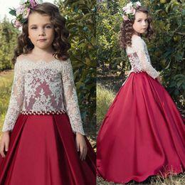 Dresses For Grils Canada - Pretty Children Princess Dress Lace Off Shoulder Communication Gown For Party Weddings A Line Floor Length Flower Grils Dresses