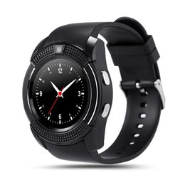 $enCountryForm.capitalKeyWord Australia - Smart Watch V8 Round Dial Bluetooth Smartwatch Phones Supports SIM with Camera Sports Wrist Watches for Android iOS Wearable Wristwatch