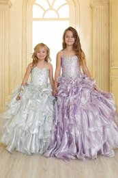 $enCountryForm.capitalKeyWord Canada - High-end custom Organza Strap Rhinestone Little Girls Pageant Dress for Wedding Sliver Ball Gown Girls Dresses Prom Kids Dress