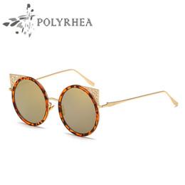 Sunglasses Sun Glasses NZ - Round Sunglasses Designer Eyewear Gold Flash Glass Lens Women Cat Eye Vintage Retro Metal Frame Mirror Sun Glasses With Box And Case
