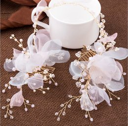 Hair Comb Flower Pink Canada - Fashion tiara Gold Hair Comb women's pearl Pink flower headbands hairwear jewelry Wedding gift crown for girls Party Prom S880