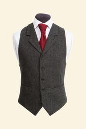 China 2017 Vintage Black Wool Tweed Vests Slim Mens Suit Vests Custom Made Sleeveless Suit Jacket Men Wedding Waistcoat Mens Dress Vest Groom Vest supplier vintage sleeveless wedding dress suppliers