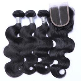 Discount cambodian weave bundles - Top Lace Closure + 3 Pcs Brazilian Hair Bundles Peruvian Indian Malaysian Cambodian Virgin Human Hair Extensions Body Wa