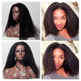 Barato Laço Africano Indiano-Indian Yaki African American Full Lace Wigs de cabelo humano Best Glueless Peruvian Kinky Straight Lace Front Wigs