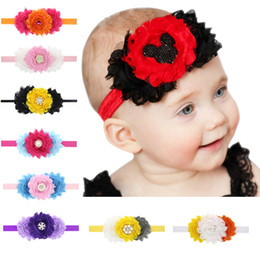 Chinese  Baby headbands flowers Pearls Rhinestones Headbands Girls Infant Hair Accessories Kids Children Hair Ornaments Head bands 12 colors KHA12 manufacturers