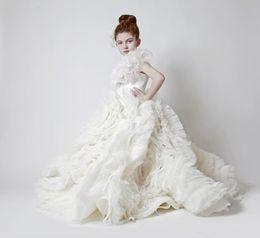 $enCountryForm.capitalKeyWord UK - Ivory Ball Gown Flower Girl Dresses for Vintage Wedding Krikor Jabotian Ruffles Tulle Train 2017 Arabic Baby Party Gowns Girls Pageant Dress
