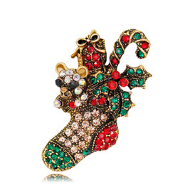 Flower Brooch Black Gold NZ - New Christmas Jewelry Multicolor Crystal Christmas Boots Brooches Antique Gold Alloy Rhinestone Flowers Brooch Corsage Pins XMAS Gifts