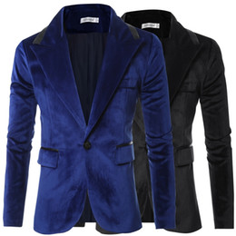 Robes De Mariée Sur Mesure Pas Cher-Wholesale- Costumes de loisirs pour hommes Nouveautés 2016 Prom Slim Fit Homens Baroque Tailor Made Retro Blue Black Wedding Dress Custom Bland Blazers