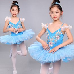 Barato Trajes De Dança Em Lantejoulas-Girls Sequined Leotard Dancewear Ballet Tutu vestido Ginástica Dance Dress Kids Performance Party Skate Costume Child Salsa Dress
