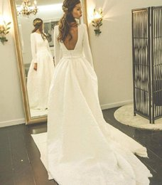Chinese made long dresses online shopping - 2017 Chinese Simple White Wedding Dresses Cheap Long Sleeves Sexy Backless Wedding Bridal Gowns Sweep Train