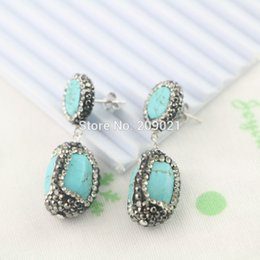 $enCountryForm.capitalKeyWord Canada - Charms! 4Pair Turquoise Stone Pave Rhinestone Crystal Dangle Earrings Jewelry Finding