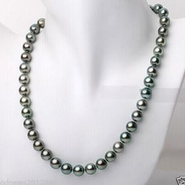 peacock chain necklace Australia - Fast Free shipping Real Fine Pearls Jewelry 18-20inch 9-10mm Tahitian genuine black peacock blue green pearl necklace 14k clasp