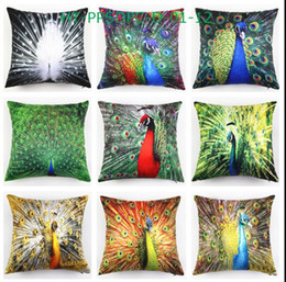 Peacock Pillow cases online shopping - Eco Friendly Peacock Feather Printed Pillow Case Cushion Satin Peach Pillow Cover Cushion Case Pillowslip cm x cm