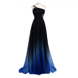 Barato Vestido De Noite Rhinestone Chiffon-2017 Cheap Ombre Prom Dress One Shoulder A Line Rhinestones Backless Long Evening Gowns Andar Comprimento Chiffon Beaded Formal Dress