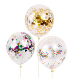 Clear Wedding Balloon UK - 10pcs 12inch Gold Confetti Balloon Giant Clear Birthday Balloons Baby Shower Decoration Birthday Balloon Party Supplies