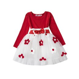 Gifts For Infant Girls Australia - Wholesale- Autumn Winter Baby Girl Boutique Clothing Flower Toddler Girls Red Clothes For 1 Year Birthday Gift Newborn Infant Party Wear