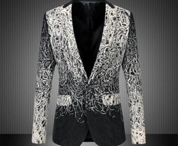 Barato Botões De Atacado Para Roupas-Atacado- 2016 Vestuário Vestuário Vestuário Vestuário Singers Blazer Men With Single Button Blazer de ouro floral Plus Size 5XL 6XL