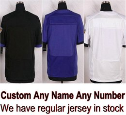 Barato Vestidos Conhecidos-Jersey de futebol Baltimore personalizado qualquer nome CJ Mosley Joe Flacco Tucker Justin Weddle Eric Suggs Black Purple White Shirt Men Skating Dresses